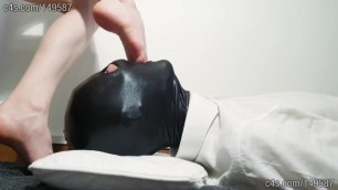 Foot Gagging my Slave Pushing my Feet down to his Throat - Part 1