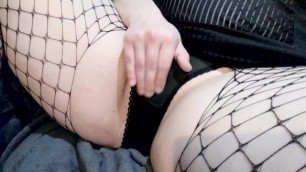 Chubby Girl Edges Clit in Sexy Lingerie